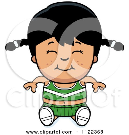 Cartoon Of A Happy Asian Cheerleader Girl Sitting - Royalty Free Vector Clipart by Cory Thoman