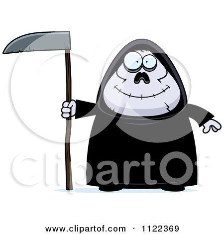 Cartoon Of A Happy Chubby Grim Reaper - Royalty Free Vector Clipart by Cory Thoman