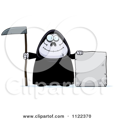 Cartoon Of A Happy Chubby Grim Reaper With A Sign 3 - Royalty Free Vector Clipart by Cory Thoman