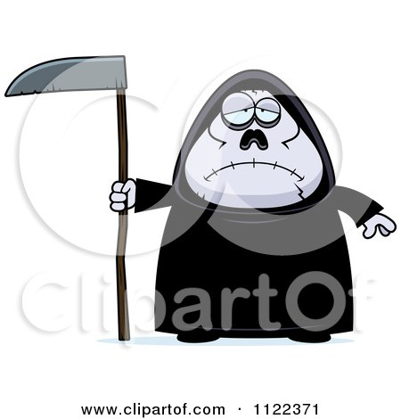Cartoon Of A Depressed Chubby Grim Reaper - Royalty Free Vector Clipart by Cory Thoman