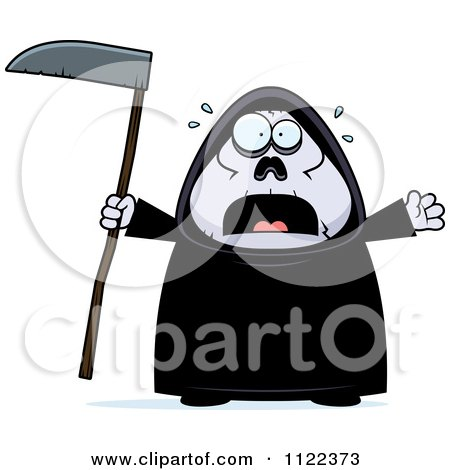 Cartoon Of A Scared Chubby Grim Reaper - Royalty Free Vector Clipart by Cory Thoman