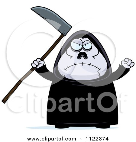 Cartoon Of An Angry Chubby Grim Reaper - Royalty Free Vector Clipart by Cory Thoman