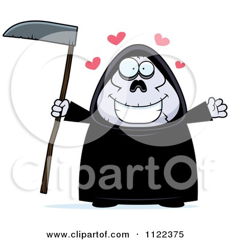 Cartoon Of A Chubby Grim Reaper With Open Arms - Royalty Free Vector Clipart by Cory Thoman