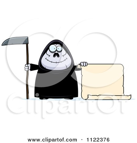 Cartoon Of A Happy Chubby Grim Reaper With A Sign 2 - Royalty Free Vector Clipart by Cory Thoman