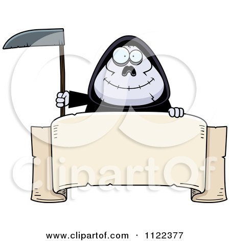 Cartoon Of A Happy Chubby Grim Reaper With A Sign 1 - Royalty Free Vector Clipart by Cory Thoman