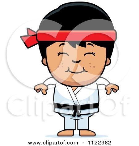 Cartoon Of A Happy Asian Martial Arts Karate Boy - Royalty Free Vector Clipart by Cory Thoman