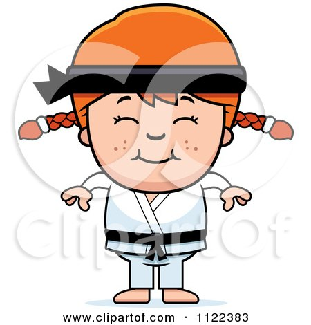 Cartoon Of A Happy Red Haired Martial Arts Karate Girl - Royalty Free Vector Clipart by Cory Thoman
