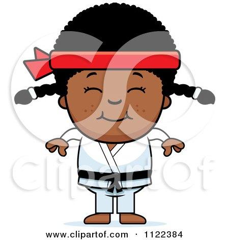 Cartoon Of A Happy Black Martial Arts Karate Girl - Royalty Free Vector Clipart by Cory Thoman
