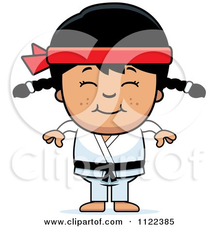 Cartoon Of A Happy Asian Martial Arts Karate Girl - Royalty Free Vector Clipart by Cory Thoman