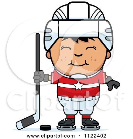 Cartoon Of A Happy Asian Hockey Boy - Royalty Free Vector Clipart by Cory Thoman
