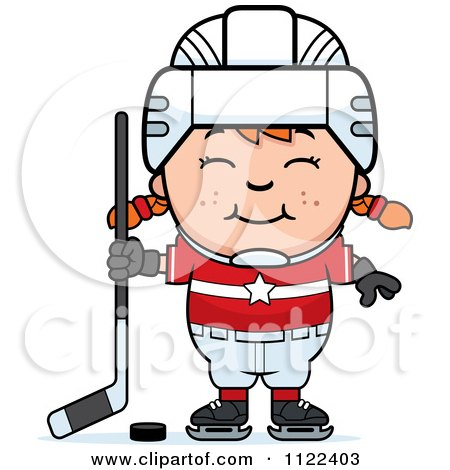 Cartoon Of A Happy Red Haired Hockey Girl - Royalty Free Vector Clipart by Cory Thoman