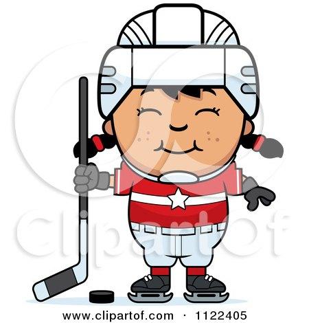 Cartoon Of A Happy Asian Hockey Girl - Royalty Free Vector Clipart by Cory Thoman
