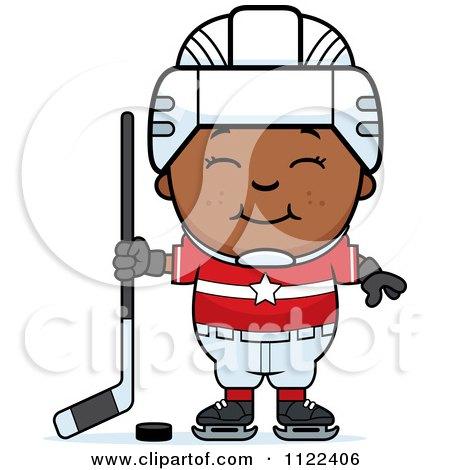 Cartoon Of A Happy Black Hockey Boy - Royalty Free Vector Clipart by Cory Thoman