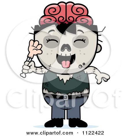 Cartoon Of A Zombie Boy Eating A Hand - Royalty Free Vector Clipart by Cory Thoman