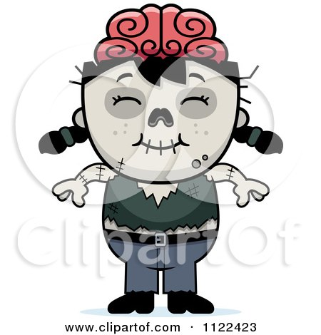Cartoon Of A Happy Zombie Girl - Royalty Free Vector Clipart by Cory Thoman