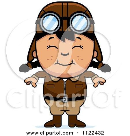 Cartoon Of A Happy Asian Aviator Pilot Girl - Royalty Free Vector Clipart by Cory Thoman