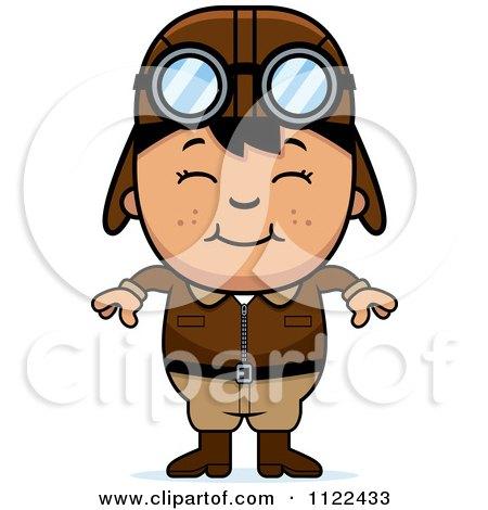 Cartoon Of A Happy Asian Aviator Pilot Boy - Royalty Free Vector Clipart by Cory Thoman
