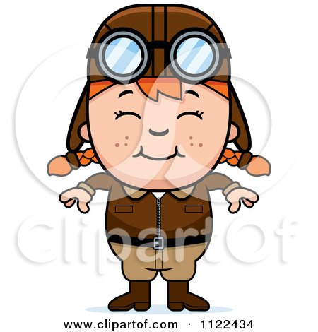 Cartoon Of A Happy Red Haired Aviator Pilot Girl - Royalty Free Vector Clipart by Cory Thoman