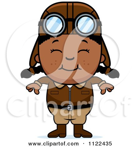 Cartoon Of A Happy Black Aviator Pilot Girl - Royalty Free Vector Clipart by Cory Thoman