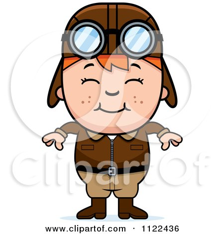 Cartoon Of A Happy Red Haired Aviator Pilot Boy - Royalty Free Vector Clipart by Cory Thoman