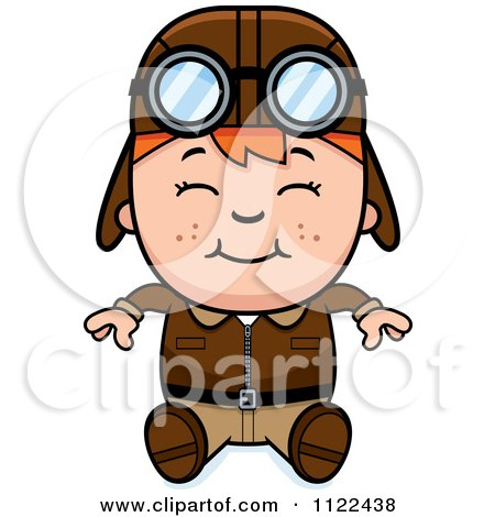 Cartoon Of A Happy Red Haired Aviator Pilot Boy Sitting - Royalty Free Vector Clipart by Cory Thoman