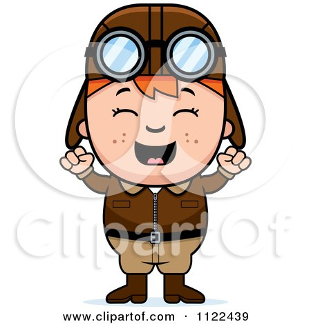 Cartoon Of A Happy Red Haired Aviator Pilot Boy Cheering - Royalty Free Vector Clipart by Cory Thoman