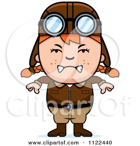 Cartoon Of An Angry Red Haired Aviator Pilot Girl - Royalty Free Vector Clipart by Cory Thoman