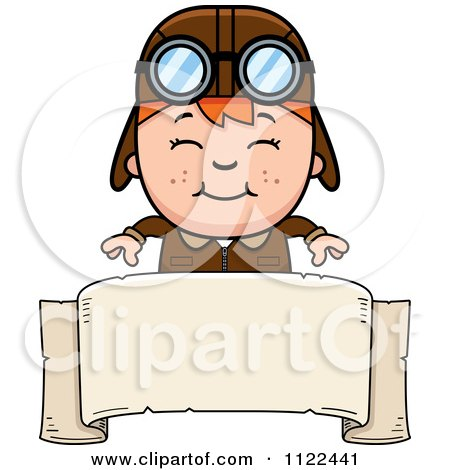 Cartoon Of A Happy Red Haired Aviator Pilot Boy Over A Sign - Royalty Free Vector Clipart by Cory Thoman