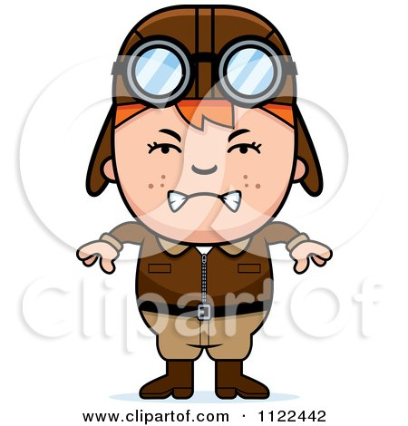 Cartoon Of An Angry Red Haired Aviator Pilot Boy - Royalty Free Vector Clipart by Cory Thoman