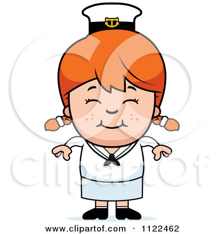Cartoon Of A Happy Red Haired Sailor Girl - Royalty Free Vector Clipart by Cory Thoman