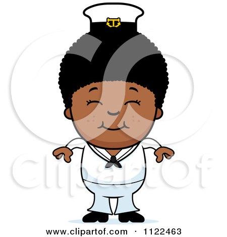 Cartoon Of A Happy Black Sailor Boy - Royalty Free Vector Clipart by Cory Thoman