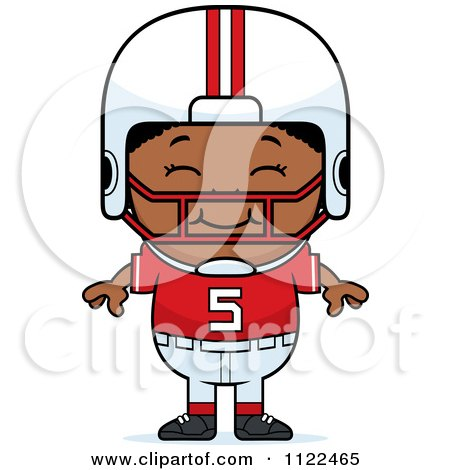 Cartoon Of A Happy Black Football Player Boy - Royalty Free Vector Clipart by Cory Thoman