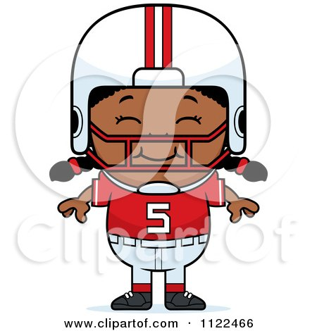 Cartoon Of A Happy Black Football Player Girl - Royalty Free Vector Clipart by Cory Thoman