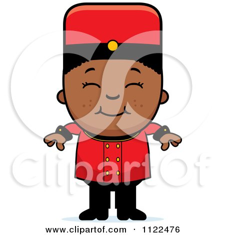 Cartoon Of A Black Bellhop Hotel Boy Smiling - Royalty Free Vector Clipart by Cory Thoman