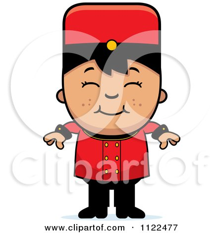 Cartoon Of An Asian Bellhop Hotel Boy Smiling - Royalty Free Vector Clipart by Cory Thoman