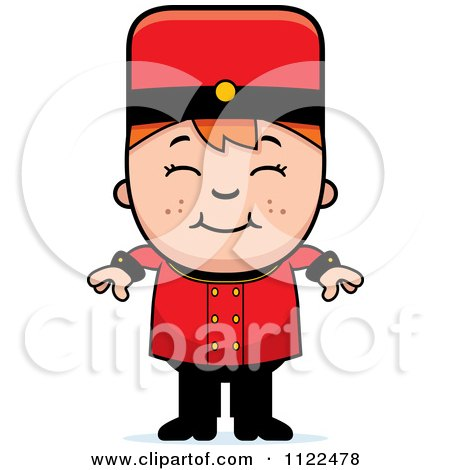 Cartoon Of A Red Haired Bellhop Hotel Boy Smiling - Royalty Free Vector Clipart by Cory Thoman