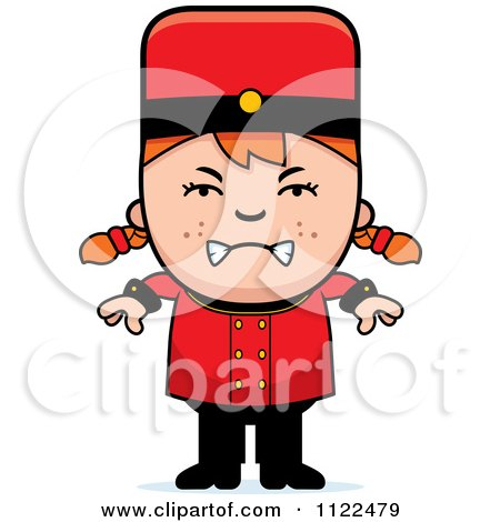 Cartoon Of A Mad Red Haired Bellhop Hotel Girl - Royalty Free Vector Clipart by Cory Thoman
