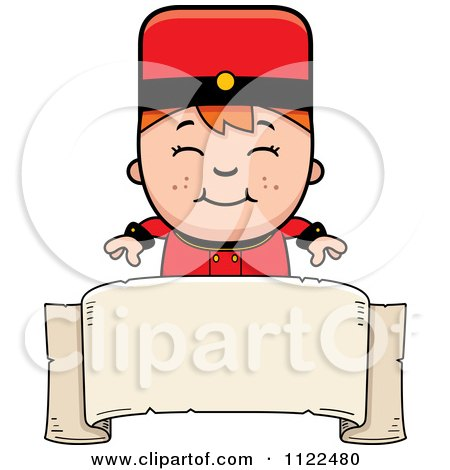 Cartoon Of A Red Haired Bellhop Hotel Boy Over A Banner - Royalty Free Vector Clipart by Cory Thoman