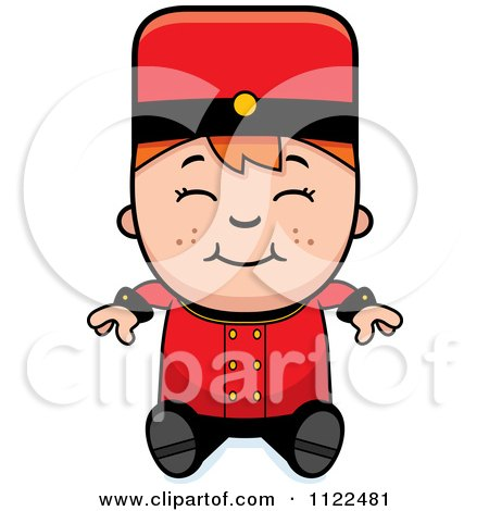 Cartoon Of A Red Haired Bellhop Hotel Boy Sitting - Royalty Free Vector Clipart by Cory Thoman