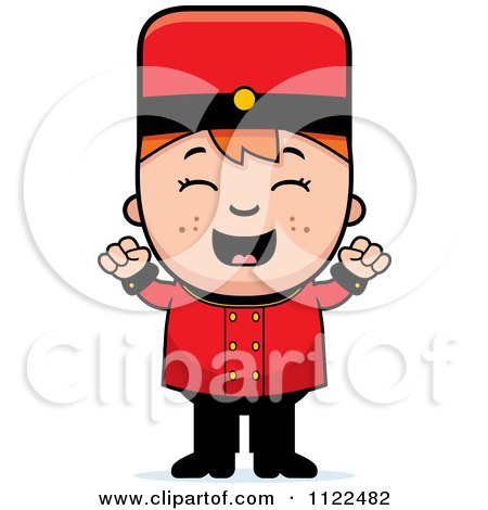Cartoon Of A Red Haired Bellhop Hotel Boy Cheering - Royalty Free Vector Clipart by Cory Thoman