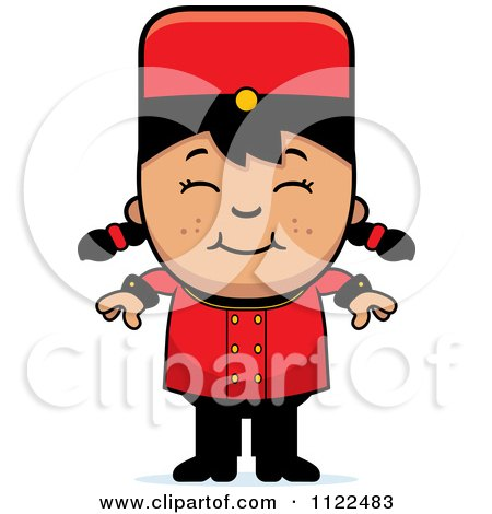 Cartoon Of An Asian Bellhop Hotel Girl Smiling - Royalty Free Vector Clipart by Cory Thoman