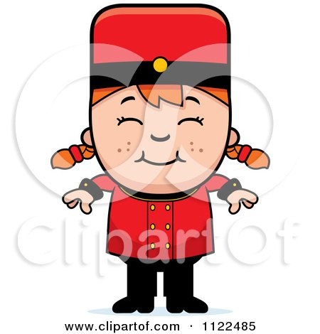 Cartoon Of A Red Haired Bellhop Hotel Girl Smiling - Royalty Free Vector Clipart by Cory Thoman