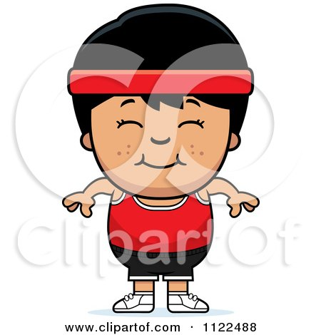 Cartoon Of A Happy Asian Fitness Gym Boy - Royalty Free Vector Clipart by Cory Thoman