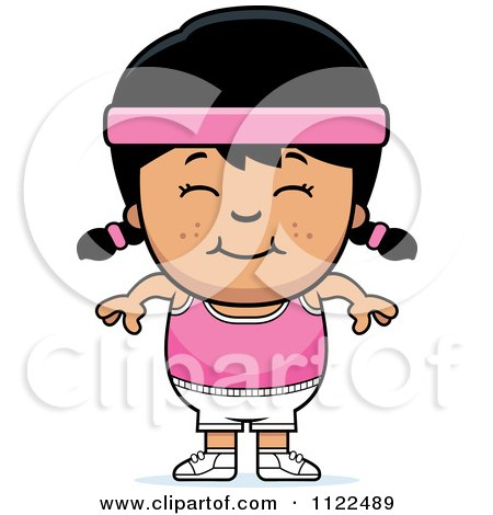 Cartoon Of A Happy Asian Fitness Gym Girl - Royalty Free Vector Clipart by Cory Thoman