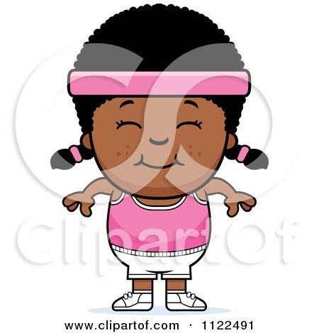 Cartoon Of A Happy Black Fitness Gym Girl - Royalty Free Vector Clipart by Cory Thoman