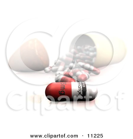 Drug Pills Spilling Out of a Container Onto a Counter Clipart Illustration by Leo Blanchette