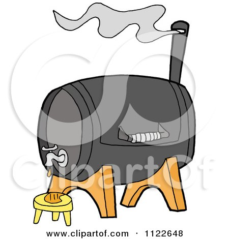Cartoon Of A Bbq Smoker Grill With A Faucet - Royalty Free Vector Clipart by LaffToon