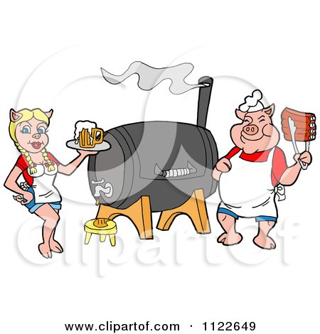 Cartoon Of A Chef Pig Holding Ribs And Waitress Holding Beer By A Smoker - Royalty Free Vector Clipart by LaffToon
