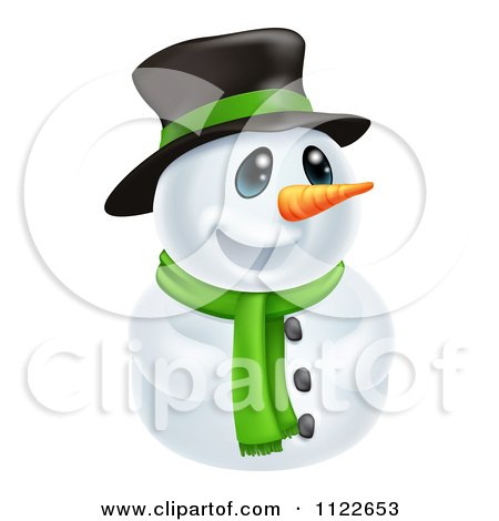 Clipart Of A Happy Cute Snowman Wearing A Hat And Scarf - Royalty Free Vector Illustration by AtStockIllustration