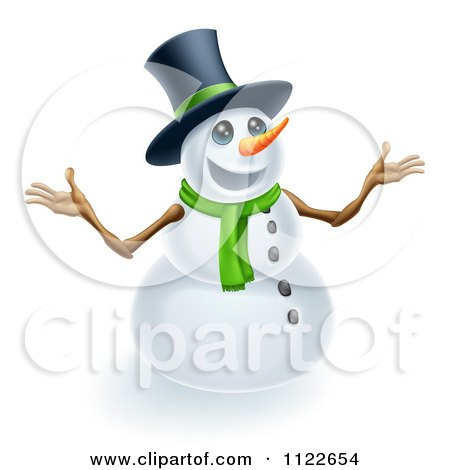 Clipart Of A Happy Cute Snowman Wearing A Top Hat And Scarf - Royalty Free Vector Illustration by AtStockIllustration